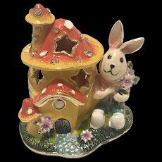 Enamel and Metal Easter Bunny Rabbit Trinket Box