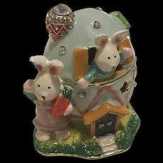 Enamel and Metal Easter Bunny in Egg House Trinket Box