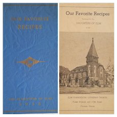 'Our Favorite Recipes: Daughters of Elim' ~ RARE 1938 (Depression Era) Advertising, Illinois Charity Booklet