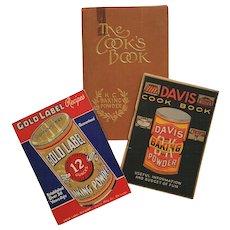 Baking Powder Collection: 'Cook's Book' 1933 ~ 'Davis Cook Book' c.1910 ~ 'Gold Label Recipes' c.1935