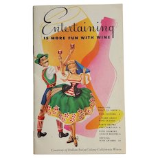 Italian Swiss Colony California WINEs ~ ASTI advertising recipes booklet ~ circa 1950