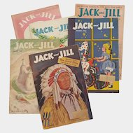 JACK & JILL magazines ~ 1952, 1953, 1955 ~ with paper dolls and more