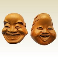 Vintage Japanese 'Noh' theater inspired Face Masks, hand-carved wood