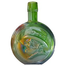WHEATON Iridescent Green Decanter ~ 32nd President of the USA, ROOSEVELT ~ 1970