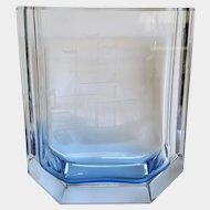 SCARCE ~ LZHS Sea Blue Crystal Vase ~ Nautical Ship ~ Leningrad, USSR (Russia) ~ 1965
