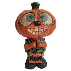 Vintage HALLOWEEN Pumpkin Bobble Head Nodder ~ Trick-O-Treater ~ late-1980's