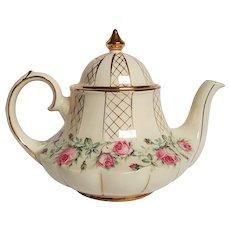 SCARCE vintage SADLER English Tea Pot ~ Carousel Pink Roses & Lattice ~ circa 1940