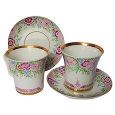 1980 MOSCOW Olympics ~LOMONOSOV ~ Flower Porcelain Coffee Cup & Saucer
