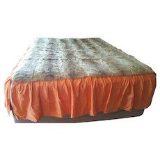 Mid-Century Brazil ~ PELES  POLO  NORTE ~ unique Rabbit Fur & Taffeta bed cover