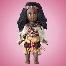 New Zealand MAORI souvenir doll ~ Traditional Kapa Haka costume ~ 1970's