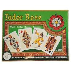 Vintage TUDOR ROSE double deck Piatnik Playing Cards of Austria ~ 1980