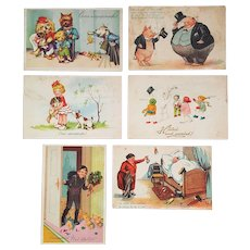 Christmas 1940 Colored Postcards from Lithuania ~ WWII Europe