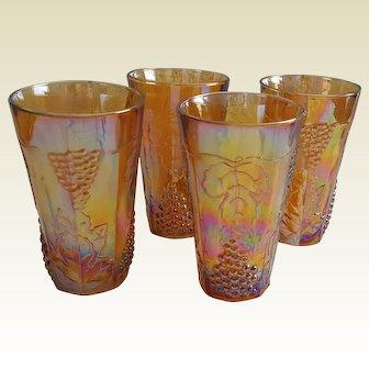 HARVEST Grace Pattern Tumblers (4) ~ Retro INDIANA Carnival Glass