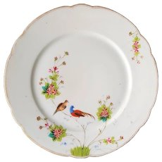 Manifattura GINORI a Doccia Presso Firenze ~ RARE 1890 antique, Asian inspired Cabinet Porcelain Plate of Birds