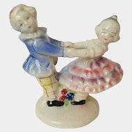 Dancing Twirling BOY and GIRL porcelain fairing figurine ~ circa 1940, Made in Japan
