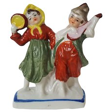 Musical GYPSYs ~ Boy and Girl Couple porcelain fairing figurine ~ circa 1935, Made in Japan