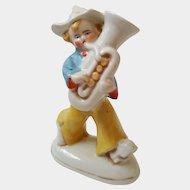 Handsome TUBA playing Boy ~ GERMAN fairing figurine ~ early 1900's