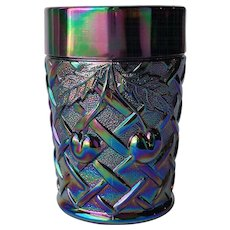 MOSSER ~ 'Cherry & Lattice' Tumbler Cup ~ Iridescent Purple Amethyst Carnival Glass