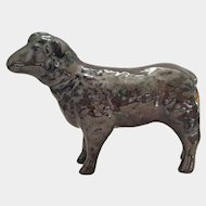 vintage Charcoal Black Lusterware SHEEP or Lamb Figurine ~ UNIQUE & marked