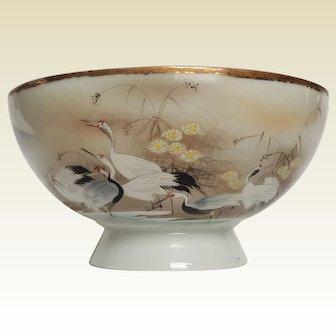 Japanese Egg Shell Porcelain Bowl ~ hand-painted Cranes & Flowers, circa 1920