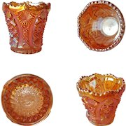 IMPERIAL 'Bellaire' Toothpick Holder ~ Deep Orange Marigold Carnival Glass ~c.1960