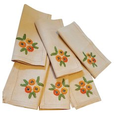 Vintage Embroidered Sunflowers on Flax Linen Napkins