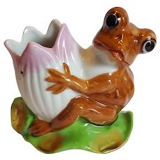 FROG, Lotus Flower & Lily Pad figurine ~ Made in Occupied Japan