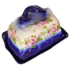 c.1900 Cheese Keeper ~ Flow Blue, Transferware ~ Butter Dish