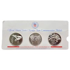 First Edition Proof Set ~ Three US Olympic Team Sterling Silver Commemorative Medals ~ 1971-1972