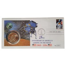 25th Anniversary MOON Landing ~ First Day of Issue & Silver Dollar