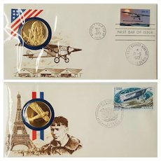 1977 America-France Charles Lindbergh Commemorative Sterling Medals & Stamp Set