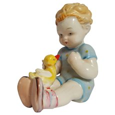 vintage BOY & DUCK ~'Made in Japan' circa 1940~ large porcelain figurine
