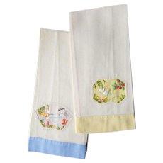Vintage Applique Linen Guest Towels ~c.1960's