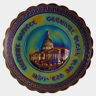 1969 'Nation's Capital Carnival Glass Club' souvenir plate ~ IMPERIAL ~ Electric Iridescent Glass