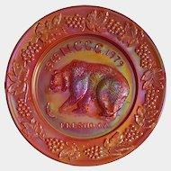 1979 'Northern California Carnival Club' souvenir GRIZZLY BEAR plate ~ WETZEL, Amberina Slag Glass
