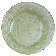 1978 'Northern California Carnival Club' souvenir GOLDEN GATE Bridge plate ~ WETZEL, Ice Green Glass