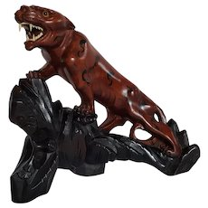 c.1910 ~Chinese TIGER sculpture ~ hand-carved Rosewood, glass eyes, bone teeth