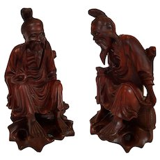 c.1940 ~Happy Old Chinese WiseMan~ hand-carved Rosewood ~ signed