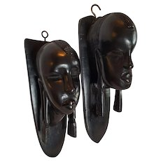 1950's AFRICAN 'Maasai Tribe' Art Head Mask Hangers ~ hand-carved Ebony Wood
