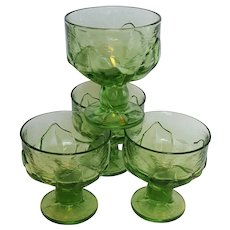 CABARET champagne or sherbet glass set ~ Apple Green ~ 1970's Tiffin Franciscan
