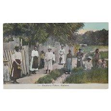 RARE ~ antique 'Blackberry Pickers, Alabama' Postcard + 'One Cent Franklin Stamp' ~ Black Americana Memorabilia - Red Tag Sale Item