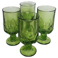 Apple Green CABARET footed tea glass set ~ 1970's Tiffin Franciscan