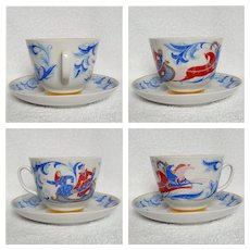 1965 ~ LOMONOSOV 'Winter Troika' cup and saucer ~ LFZ 'Made in USSR' Leningrad, Russia