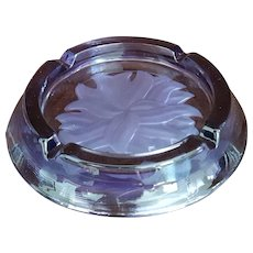 c.1960 'VIKING' ~uniquely Etched Amethyst Purple Glass Ashtray with original label