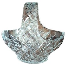 BOHEMIA ~ c.1970 Czechoslovakia, Brilliant cut leaded Crystal basket with original label