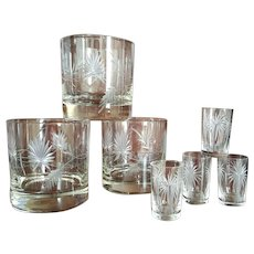 c.1955 ~ Brazilian Palmetto Leaf  & Palm Tree Etched, lowball & shooter glass set