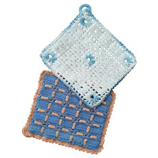 Uniquely Hand-Crochet HOT pads / POT holders / Oven Mitts ~ c. 1950, mid-century