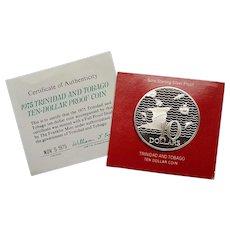 1975 Ten-Dollar TRINIDAD and TOBAGO .925 Silver Coin