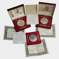 .925 Silver 'Two-Dollar FLAMINGO' coins of the Bahamas ~ 1971, 1972, 1974 (set of three)