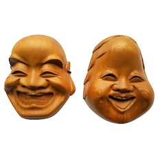 Japanese 'Noh' stylized Asian Face Wooden Masks c.1985
